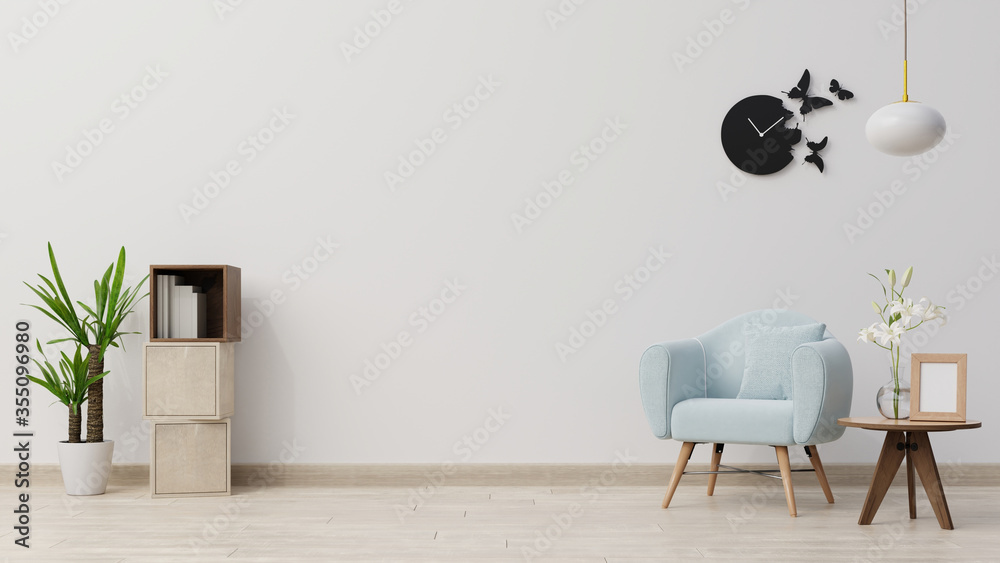 Fototapeta Interior poster mock up living room with blue armchair have cabinet and wood shelves on wood flooring and white wall ,3d rendering