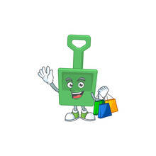 Happy Rich Green Sand Bucket Caricature Picture With Shopping Bags