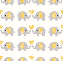 Cute Seamless Pattern With Ele...