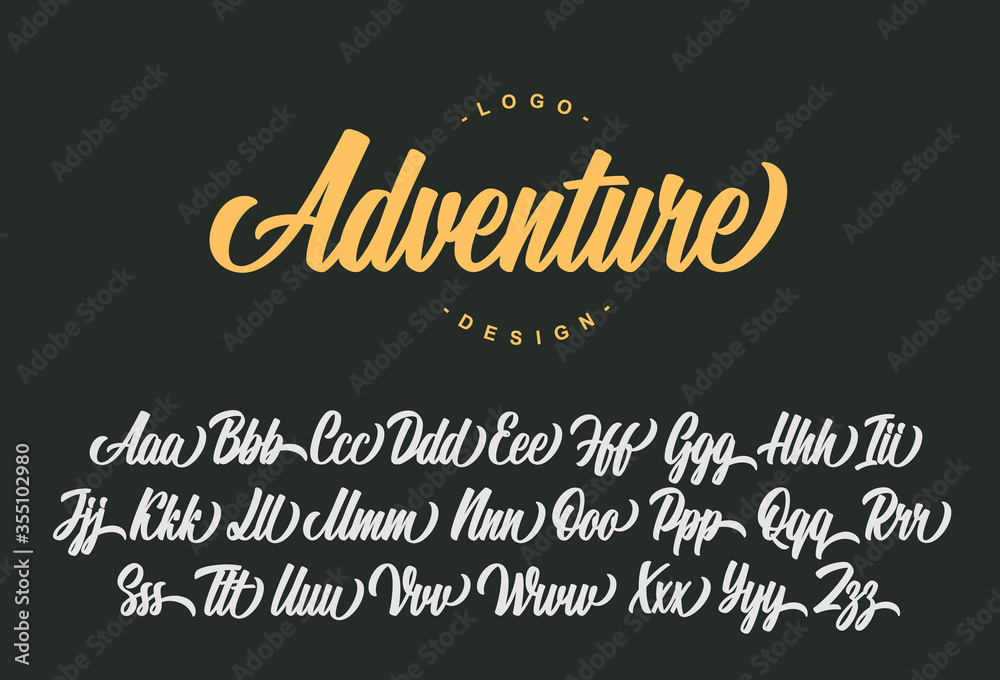 Fototapeta Adventure script font design. Vector alphabet.
