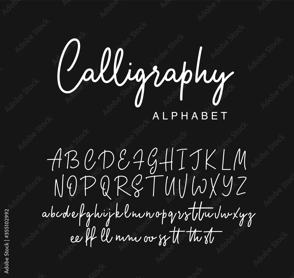 Fototapeta Handwritten calligraphy script font design. Vector illustration.