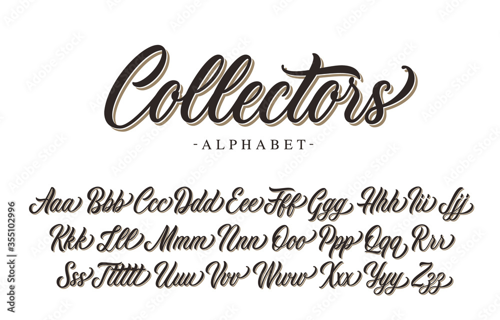 Fototapeta Collectors premium script font design. Vector alphabet.
