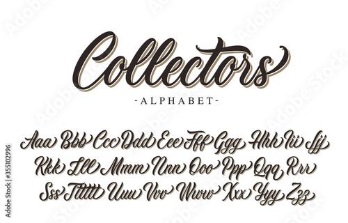 Fototapeta Collectors premium script font design. Vector alphabet. obraz