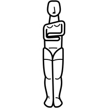 Female Cycladic Idol Vector Icon In Outlines