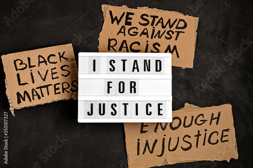 Vászonkép I stand for justice text on light box and other anti racism slogans