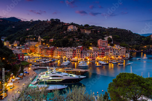 Fototapeta Twilight view over Portofino, Liguria, Italy obraz
