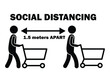 Social Distancing 1.5m Apart Stick Figure with Cart. Black and white pictogram depicting one point five meters apart while shopping with trolley. Vector File