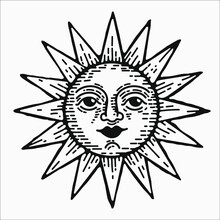 Hand Drawn Sun Vector Vintage Style Clipart Element For Logo Design And Branding. Engraving Illustration, Isolated Graphic Icon