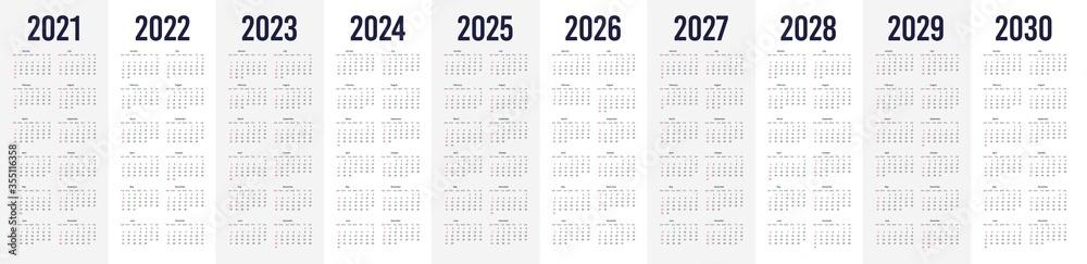 Fototapeta Simple calendar set for 2021 - 2030 years. Simple editable vertical vector calender - obraz na płótnie