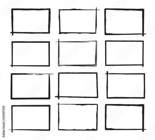 Set of grunge horizontal frames Fototapet
