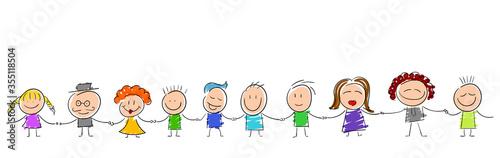 bambini per mano, girotondo, scuola, Tapéta, Fotótapéta