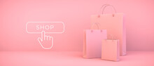 Pink Shopping Bags And Button