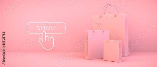 pink shopping bags and button - fototapety na wymiar