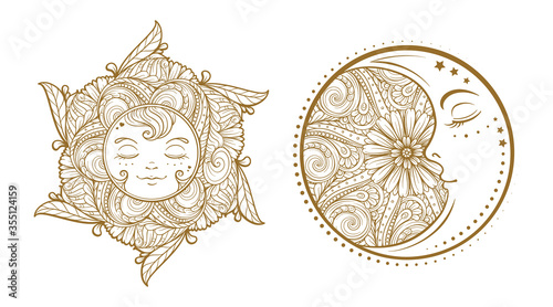 Ethnic sun and moon symbols. Temporary tattoo set. Fototapet