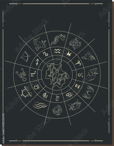 Fototapeta Vector illustration. Different stages of moonlight activity in vintage engraving style. Zodiac Signs obraz