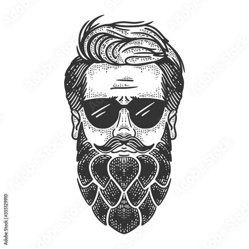 Fototapeta Man with hop beard sketch raster illustration