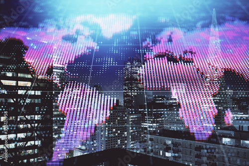 Fototapeta Double exposure of business theme hologram drawing and city veiw background. Concept of success.