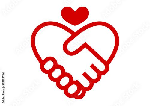 握手とハート イラスト アイコン ロゴ 赤 Canvas-taulu