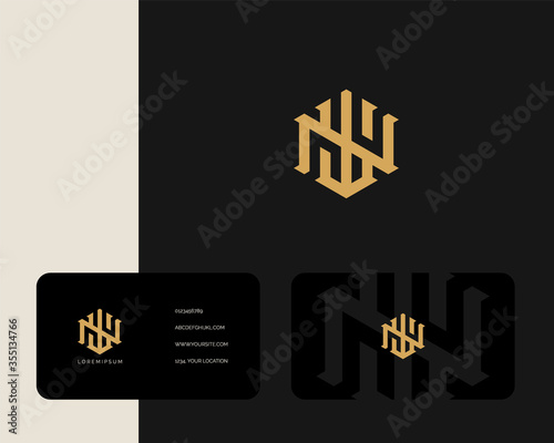 Photo Letter W N logo design with business card vector template