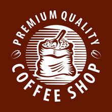 Coffee Grain Logo - Vector Illustration, Emblem Design On Black Background