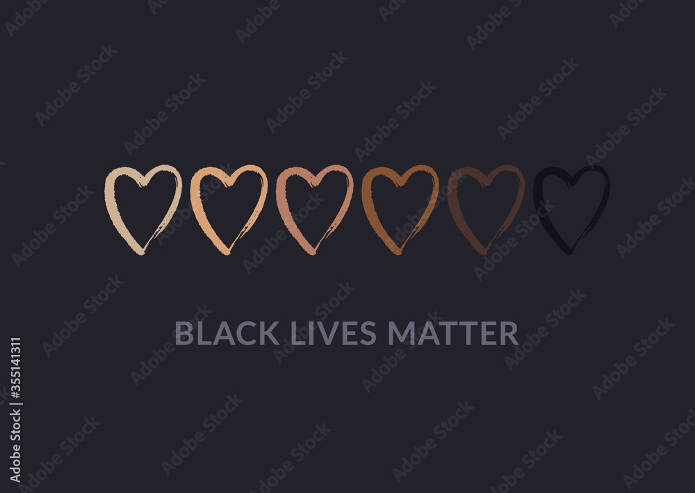 Fototapeta Row of hand drawn hearts colored from white to black with Black lives matter slogan. Anti racism and racial equality and tolerance banner. Vector illustration, social media template, dark background