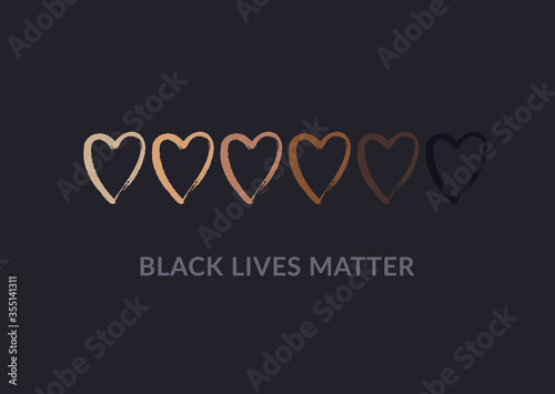 Photo Row of hand drawn hearts colored from white to black with Black lives matter slogan