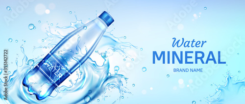 Obraz na plátne Mineral water bottle ad banner, plastic flask with pure drink and blank label fl