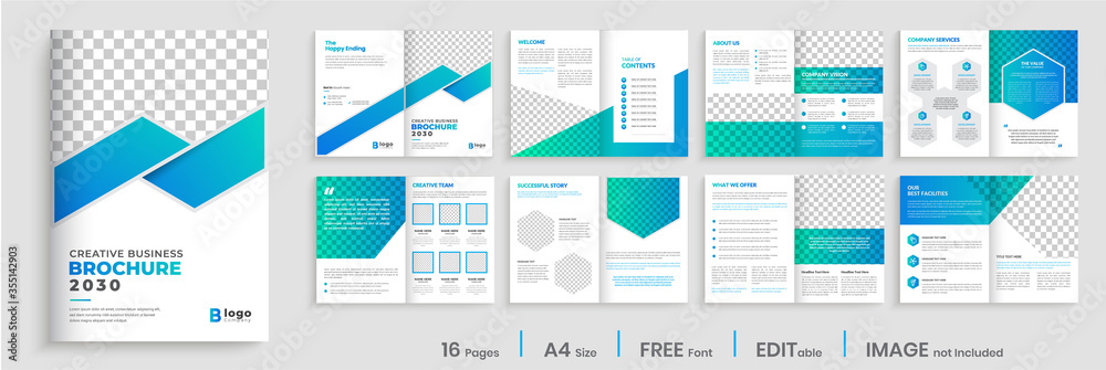 Fototapeta Brochure template layout design, Brochure deisgn with blue gradient modern shapes, annual report minimal, multipage brochure template layout.