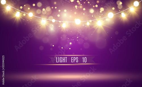 Photo Christmas bright, beautiful lights, design elements