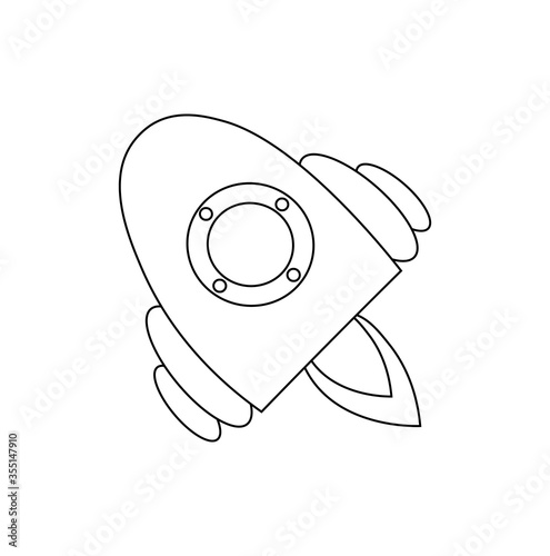 Space ship of site design. The symbol of the cosmos. Design of ads, websites, and banners. An isolated element. Vector isolated illustration with a spaceship in Doodle style. Cartoon style.