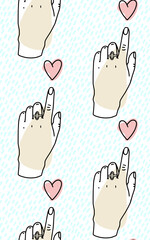 Seamless pattern. Hand pointing towards heart, forefinger on the heart. Vector illustration.