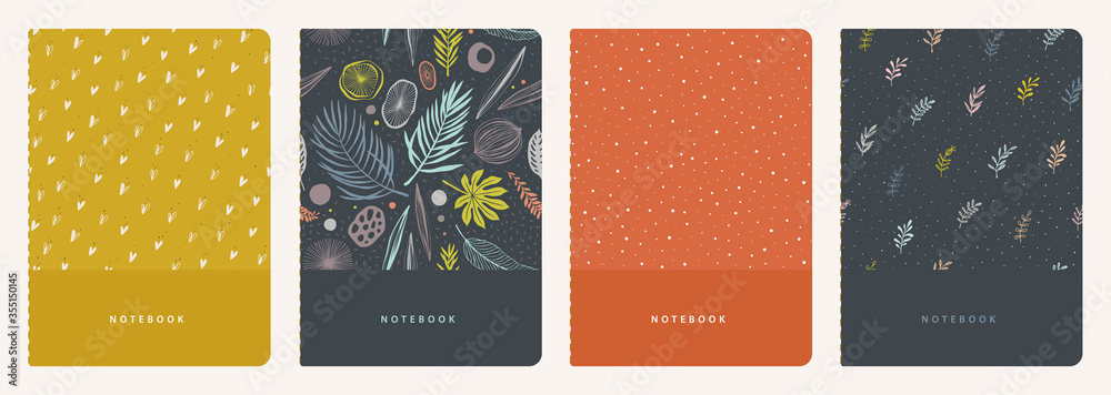 Fototapeta Cover page templates. Universal abstract and floral layouts. Applicable for notebooks, planners, brochures, books, catalogs etc. Seamless patterns and masks used, easy to re-size.