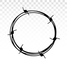 Wreath From Barbed Wire. Barbed Wire Vector. Frame Circle From Barbed Wire. Symbol Of Not Freedom. Barbed Wire Frame , Isolated On White Background Vector Illustration.
