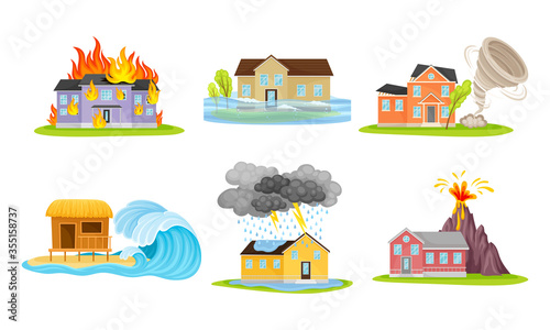Photo Houses Undergoing Natural Disasters Like Fire and Tornado Vector Set