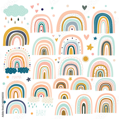 Fotografie, Obraz Pastel stylish trendy rainbows vector illustrations