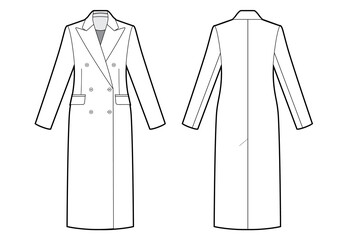 womans classic double breasted coat bw sketch