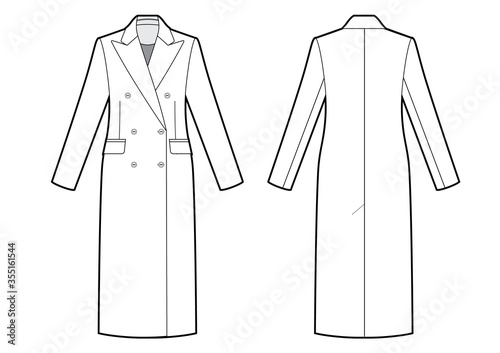 womans classic double breasted coat bw sketch Fototapeta