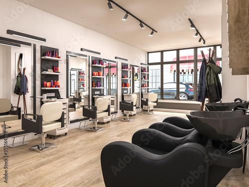 modern hairdressing salon interior, 3d illustration Canvas Print