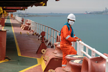 Seaman Covid-19 Main Deck And Mooring Equipment Of Cargo Ship, Vessel