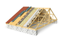 Roof Covering Cross Section With All Layers, 3d Illustration