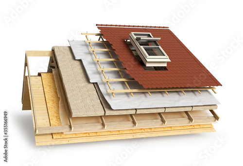 Fotografia Layered scheme of roof covering and window installing, 3d illustration