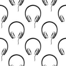 Seamless Pattern. Headphones O...
