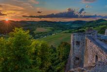 Castle By Dobra River At Sunset