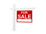 Fototapeta Przestrzenne - for sale house home real estate sign