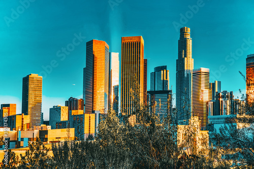View of the Downtown of LA in the evening, before sunset time. Wallpaper Mural