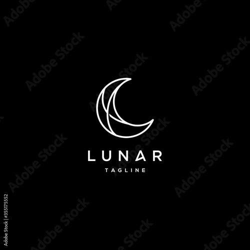 elegant crescent moon and star logo design line icon vector in luxury style outl Fototapet