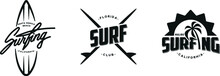 Set Of Vintage Surfing Graphic...