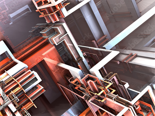 surreal futuristic digital 3d design art abstract background fractal illustratio Canvas Print
