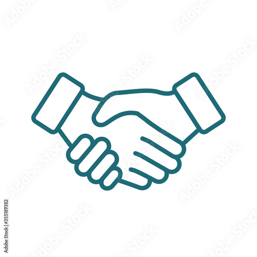 Business handshake / contract agreement line art vector icon for apps and websit Canvas Print
