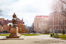 East Capitol Park And Statue Of General Philip Sheridan From Back Towards State Street, Albany, USA